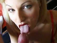 Blonde babe in nylon stockings sucking dick in POV movie