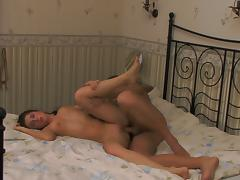 Hot big-titted chick rides a stiff schlong