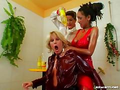 Three chicks have a hot time with oils and sex lube