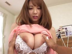 An Asian girl gets her natural big tits squeezed while getting fucked