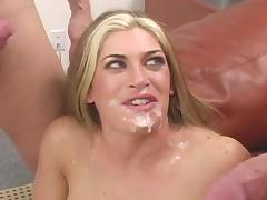 Experienced lady got threesome fuck and facial