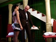 The maid service sends a chick over who takes it int he ass