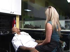 Blonde smokes a black rod and rides it in her shaved pussy