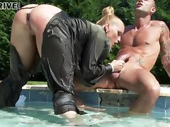 Horny master gets screwed hardcore at the pool by her jumbo-sized cock servant
