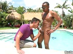 Handsome gay sucks and rides a BBC on the poolside and can't stop