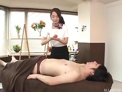 Mini-skirt clad Asian babe with a sexy ass enjoying a hardcore cowgirl style fuck