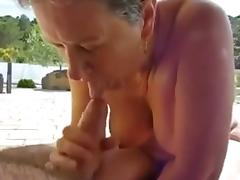 Wife granny sucking cock and cum