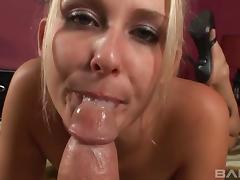 Cum-thirsty bombshell provides a jaw dropping blowjob in this hot POV scene