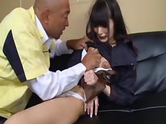 A Japanese college girl gets gangbanged by her classmates