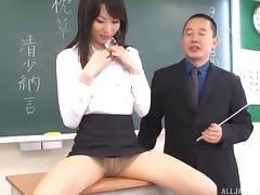 You have a chance of watching a kinky Japanese teacher pricked in class
