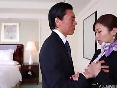 Hot Japanese stewardess gets fucked by a hung older dude