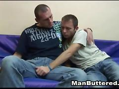 Comely gay stud sucks a dong then takes it up his ass