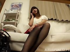 Adorable Japanese slut can't help but moan loudly while fucking