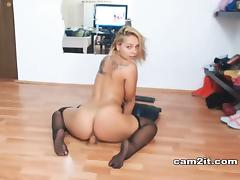Chubby Blonde Teen Rides Dildo Like A Pro