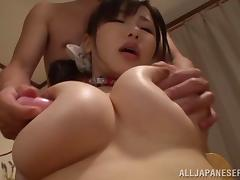 He bends Anri Okita over and slams a toy in her twat