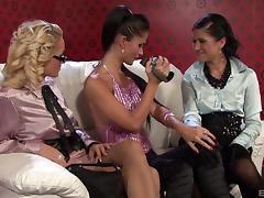 Lesbian bitches show a curious blonde how women have sex