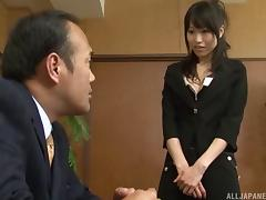 His new Japanese secretary has a very tight, hairy pussy