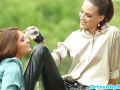 Glamcore eurobabe assfucked while friend licks clit