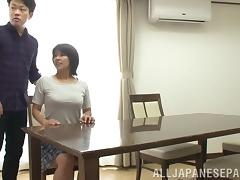 Naughty Japanese wife gives her hubby an orgasmic tit job