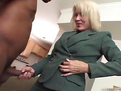 Dynamic  cougar gets a big black cock deep in her beaver