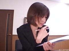 Horny Japanese boss babe jerks off the man here for an interview