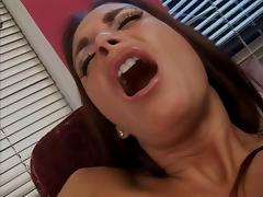 Busty slut licks her own nipples and finger fucks her pussy