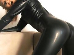 latex catsuit sweat