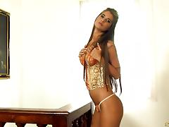 Vivacious solo model slams her cunt and hot ass with a dildo till orgasm