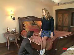 A college girl meets her professor in a hotel and fucks him