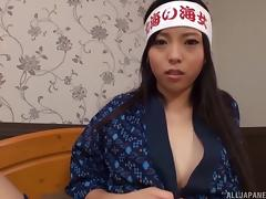 Big cock enjoys the pleasures of her sucking Japanese mouth