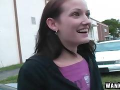 Slutty girl Hailey gleefully sucks a dick in the car