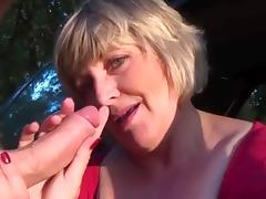 wife in car masturbates and blows hubby's cock