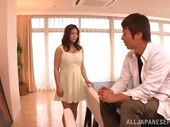 Huge boobs Japanese babe in a pretty dress blows the delivery guy