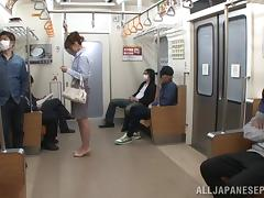Slutty and good looking Asian MILF gets groped on a public train