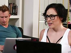 Chubby nerd chick with sexy tattoos does DP porn