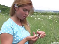 Big ass teen in the grass looks amazing in lace panties