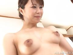 Mini-skirt clad Asian chick with awesome juggs teasing a stranger