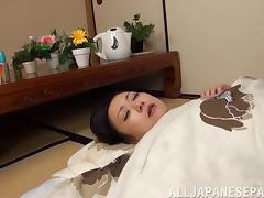 Sexy sapphic Asian slut seduces a friend & uses a double sided dildo
