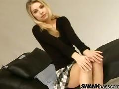 Blonde bimbo in a short skirt spreading her legs & masturbating