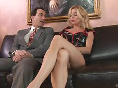 Slutty blonde MILF nurse fucks a lucky guy and makes his day