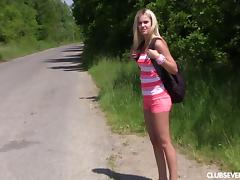 Hitch Hiker, Amateur, Blonde, Close Up, Fingering, Masturbation