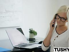 TUSHY Hot Secretary Kate England Gets Anal from Client