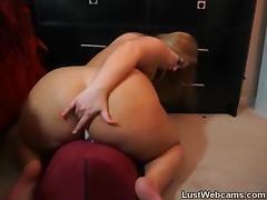 Chubby MILF rides dildo on webcam