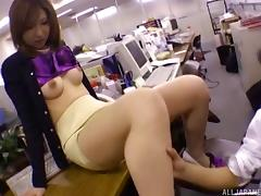 Slutty Japanese office girl having sex with her colleagues