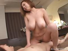 Two horny guys team up and fuck Ruri Saijoh in a hot threesome