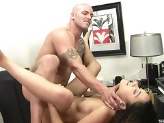 Wavy haired amateur follows her stud to work for a hardcore fucking