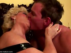 Grandma creampied into hairy pussy by young guy