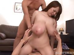 Filthy Japanese blonde with giant tits gets gang banged and takes cum in her mouth