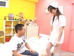 Caring Asian nurse never forgets to lick the balls during a blowjob