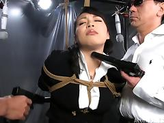 Hardcore pussy toying action with bondage fetish Japanese pornstar
